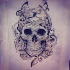 butterflies and skull design
