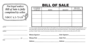 north dakota stockmen u0027s association bill of sale form