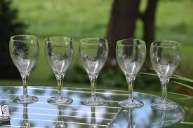 vintage cocktail glasses vintage etched wine glasses set of 5 etched starbursts bar cart