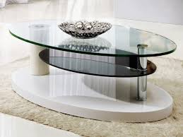 Wood Oval Coffee Table - coffee table contemporary design oval glass wood coffee table
