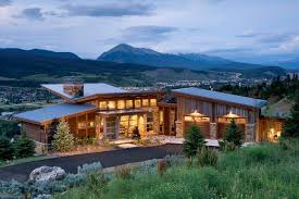Contemporary Cabin Modern Butterfly Roof Exterior Rustic With Mountain Home Mountain
