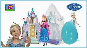 anna tricks elsa huge frozen castle big egg surprise opening
