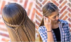 Easy Hairstyle For Girls by Double Braid Tieback Cute Girls Hairstyles Cute Girls