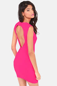 hot dress hot pink dress backless dress bodycon dress 43 00