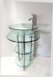 Glass Shelves Bathroom Pedestal Glass Vanity Stand With Glass Shelves Faucet Bathroom