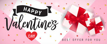 happy valentines day banner happy valentines day banner with gifts vector premium