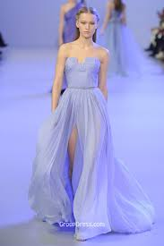 pale blue strapless pleated bow detailed long chiffon evening gown