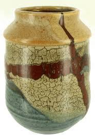 Studio Pottery Vase Vintage American Studio Pottery Vase Crackle Glaze Lovely Design