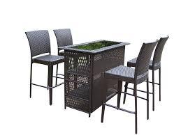 Home Bar Table Oakland Living Elite Resin Wicker 5 Pc Bar Set W 50