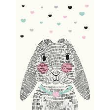 rabbit poster sparkling paper kaart mrs rabbit a6 lief en klein kamer femke