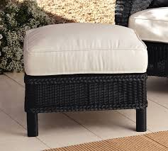 Ottoman Slipcovers Pottery Barn Palmetto All Weather Wicker Armchair Ottoman Black Pottery Barn