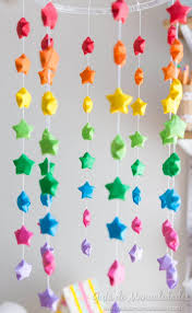 colorful mobile with rainbow of origami stars simple craft ideas