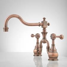 antique copper kitchen faucets vintage bridge kitchen faucet lever handles alt copper 1 brushed