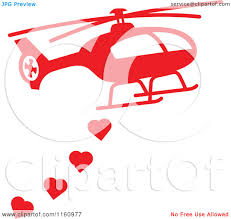 cartoon of a red helicopter with valentine hearts royalty free