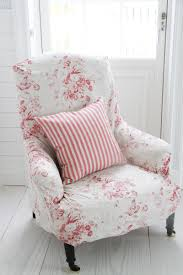 Armchair Slipcovers Loose Cover In Faded Floral Fabric Natural Little Stripe Raspberry