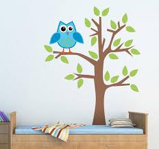 blue owl on tree sticker tenstickers