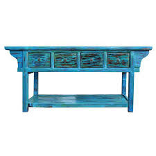 Green Console Table Rustic Distressed Blue Green Console Table Chairish