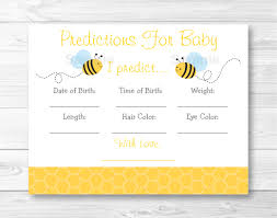 cute bumble bee baby predictions game bumble bee baby shower