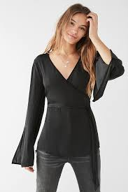 black wrap blouse uo slit sleeve wrap blouse outfitters