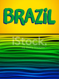 Brizil Flag Brazil Flag Wave Yellow Green Blue Background Stock Vector