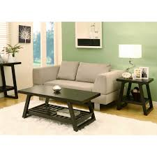 modern black painted mahogany wood coffee table and end table
