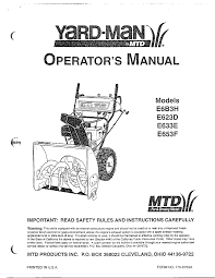 mtd yardman snow thrower parts model 31ae633e401 sears partsdirect