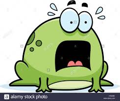 a cartoon illustration of a frog looking scared stock vector art