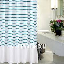 white and teal striped simple modern clearance shower curtains