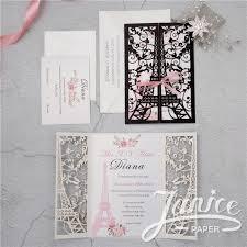 eiffel tower wedding invitations luxurious eiffel tower glitter paper laser cut wedding invitations