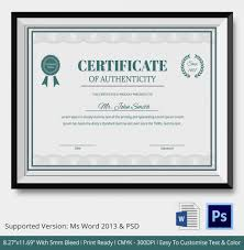 certificate of authenticity template 27 free word pdf psd