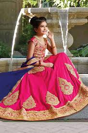 buy wedding wear pink color lehenga for kids with embroidery work