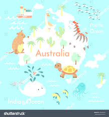 Animal World Map by Animal Map World Children Kids Stock Vector 210789814 Adorable