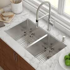 Double Stainless Steel Kitchen Sink by Kraus Stainless Steel 32 75