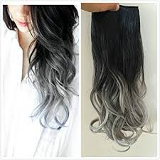 grey hair extensions one clip in hair extensions wavy black to silver grey