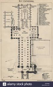 Cathedral Floor Plan Ely Cathedral Floor Plan Cambridgeshire 1939 Vintage Map Stock