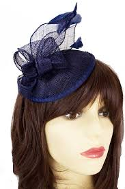 small fascinators for hair navy blue small saucer hat with hairband feathers blue fascinators