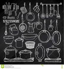 sketch of pots pans on blackboard in country style stock vector