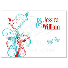 wedding invitation turquoise white floral butterflies