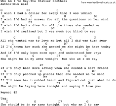 Blind To You Lyrics Country Music Who Am I To Say The Statler Brothers Lyrics And Chords