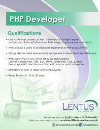 Php Developer Resume Lentus Solutions Inc Linkedin