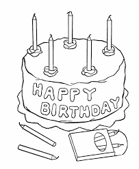 birthday coloring pages free printable kids happy birthday cake