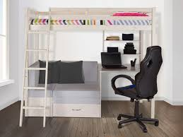 lit surélevé avec bureau lit mezzanine goliath rangement 90x200cm pin option matelas