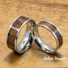 style steel rings images Stainless steel ring with hawaiian koa wood 6mm 8mm width flat jpg