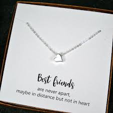 silver best friend necklace images Best friend gift minimal heart bead charm necklace sterling jpg