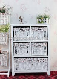white wooden storage bathroom cabinet with wicker basket drawer