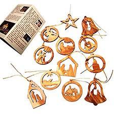 olive wood ornaments mix set of 12 flat ornaments