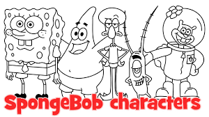 how to draw spongebob characters patrick squarepants squidward