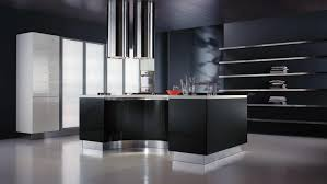 black kitchen island modern style dark kitchen design with neat metal wall shelves and