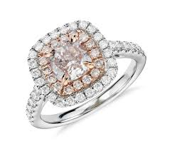 Halo Cushion Engagement Rings Fancy Light Pink Diamond Double Halo Cushion Cut Ring In 18k White