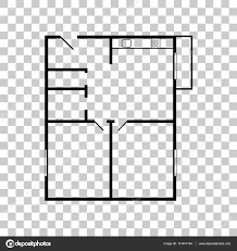 apartment house floor plans black icon on transparent backgroun
